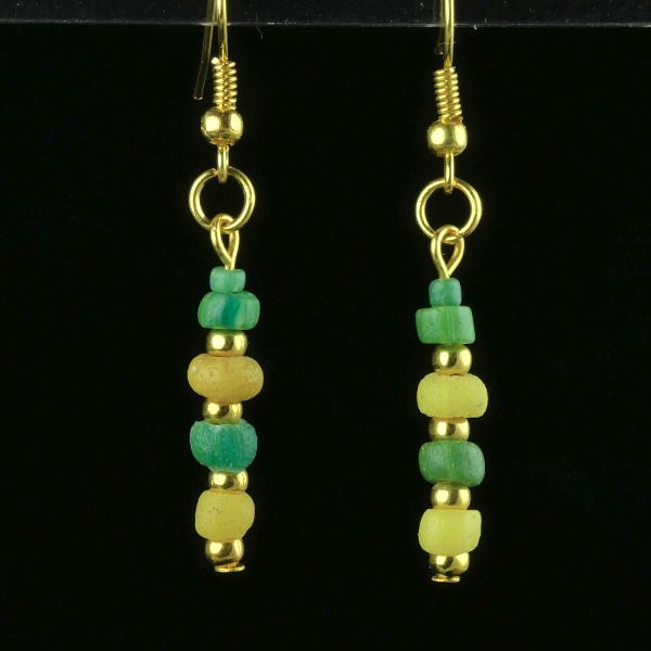 Ancient Roman Glass Earrings with green and yellow glass beads