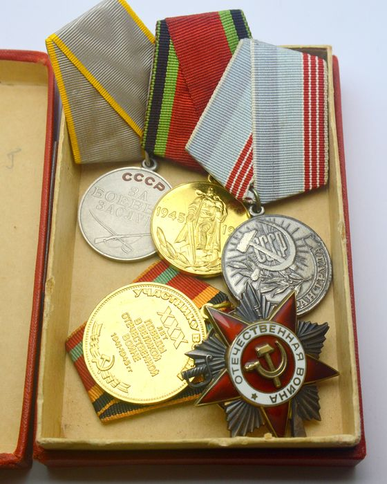 """Russia - Order """"Patriotic War"""" 2nd degree with number + Silver Medal For Military Merit + 3 other medals & - Medal"""