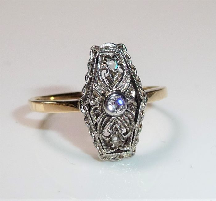 No Reserve - 14 kt Gelbgold, Platin - Ring, Art Deco style. - 0.08 ct Diamant