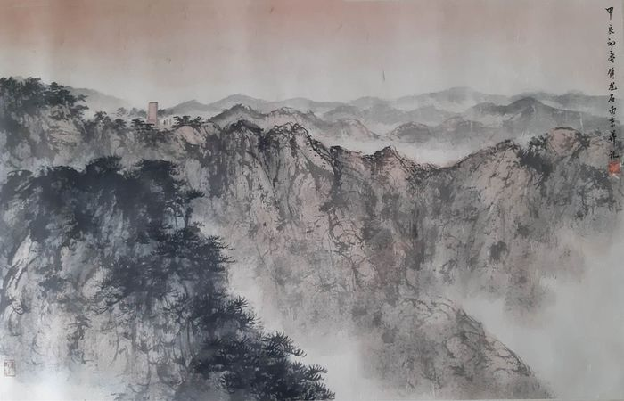 Ink Landscape - Rice paper - 《傅抱石-井冈山》Made after Fu Baoshi - China - Second half 20th century