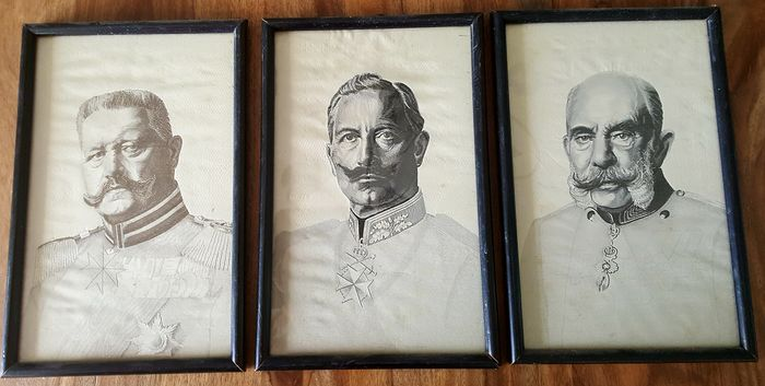Germany - German Empire 3 rare framed silk pictures