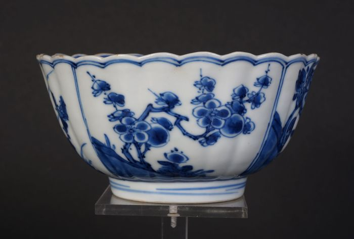 very nice Blue and white kangxi bowl with flower decoration in panels (1) - Blue and white - Porcelain - China - Kangxi (1662-1722)