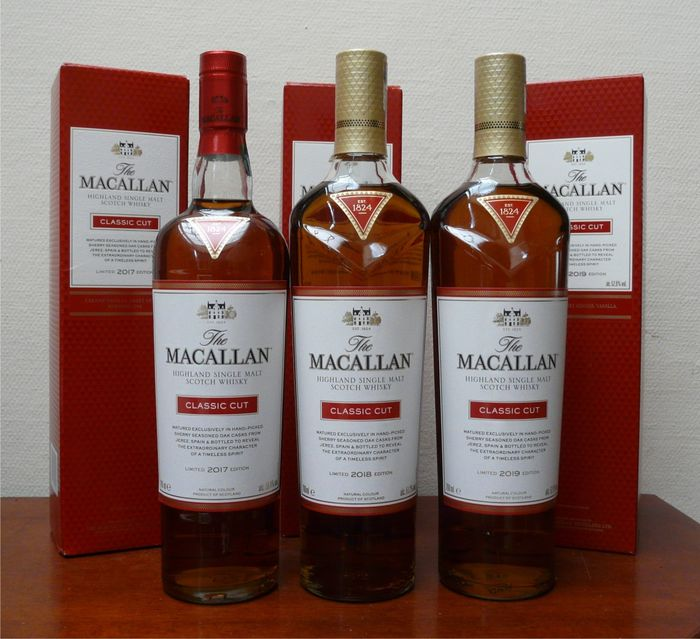 Macallan Classic Cut limited edition 2017-2018-2019 - Original bottling - 70cl - 3 bouteilles