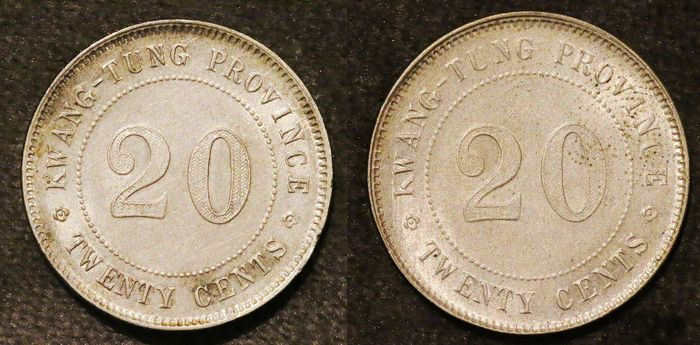 Chine - province du Guangdong - 20 cents yr. 10 (1921) & yr. 11 (1922) - Argent