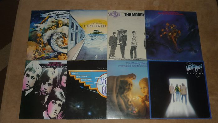 "Moody Blues - 8 albums of this historic Band - Multiple titles - LP's, Maxi single 12""inch - 1973/1986"