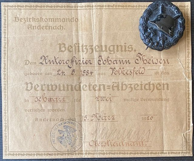 Deutsches Reich - Wound badge in black with certificate of ownership - Award