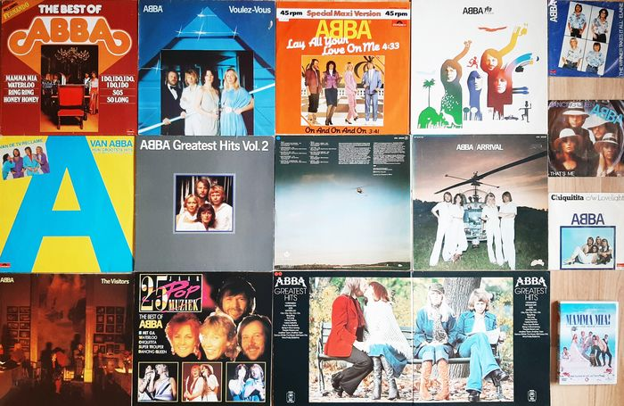 """ABBA - All Their Hits and More - Multiple titles - 45 rpm Single, DVD, LP's, Maxi single 12""""inch - 1976/2008"""