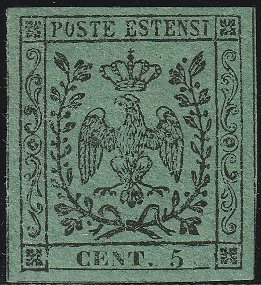 Italian Ancient States - Modena 1852 - 1st issue 5 cents green, intact, with good margins, certified - Sassone N.1