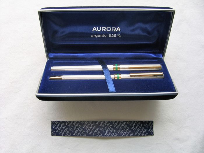 Aurora Collezione Marco Polo - Complete set consisting of fountain pen + ballpoint pen both in 925 silver, with - Set of 2