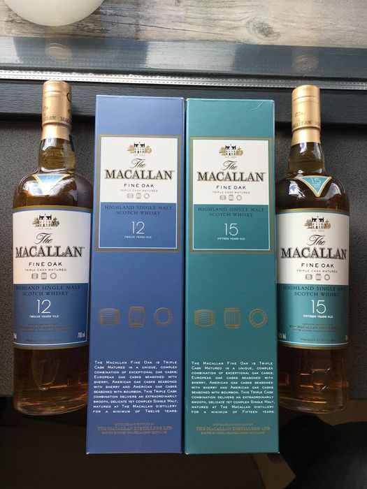 Macallan 15 years old & 12 years old - Original bottling - 70cl - 2 bouteilles