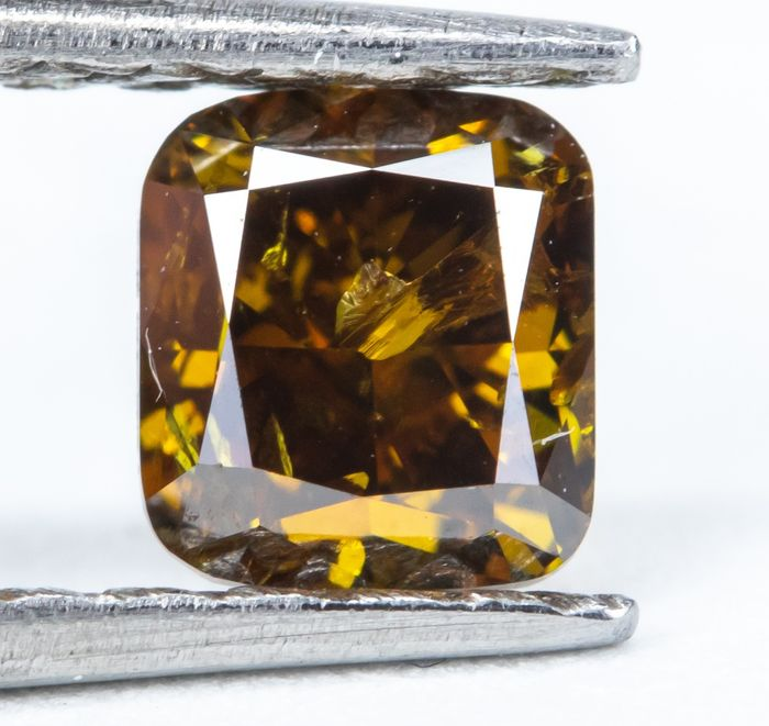 Diamond - 0.50 ct - Natural Fancy Dark Brownish Orangy Yellow - I2  *NO RESERVE*