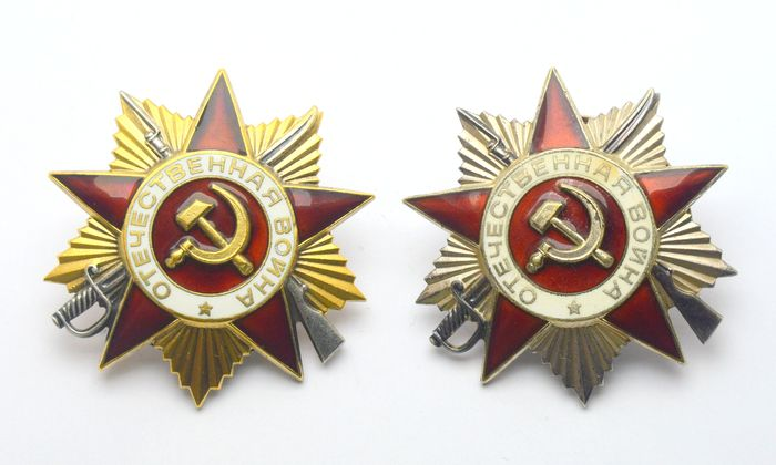 Russia - Patriotic War 1st + 2nd degree, sterling silver, gold plated (set of 2 pieces) - Medal