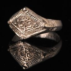 Medieval Viking Period Silver Ring with Runic Symbols