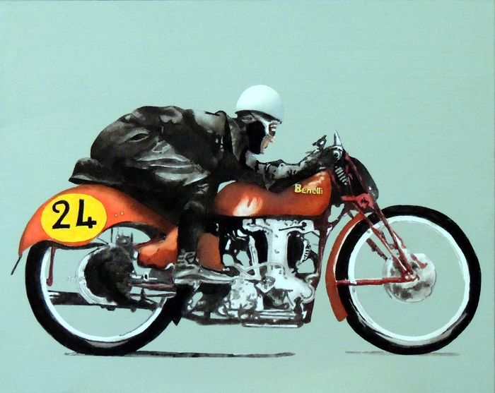 Painting - Dario Ambrosini - Benelli 250 GP 1950, by Marco Moriconi - After 2000