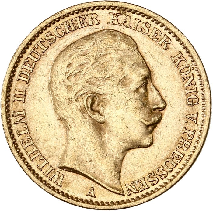 Germany - Prussia - 20 Mark 1910 A, Wilhelm II - Gold