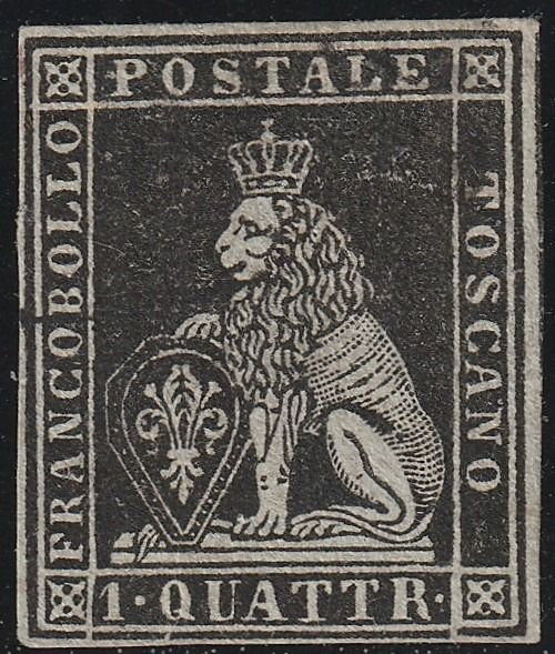 Italian Ancient States - Tuscany 1851 - 1st issue 1 quattrino black with good margins, certified - Sassone N.1