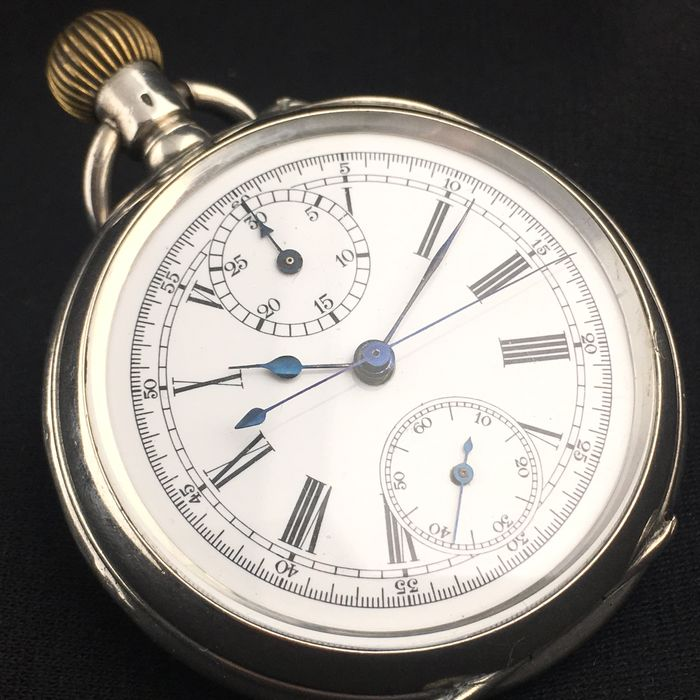 Silver Chronograph Pocket watch - Swiss made - Men - ca. 1920