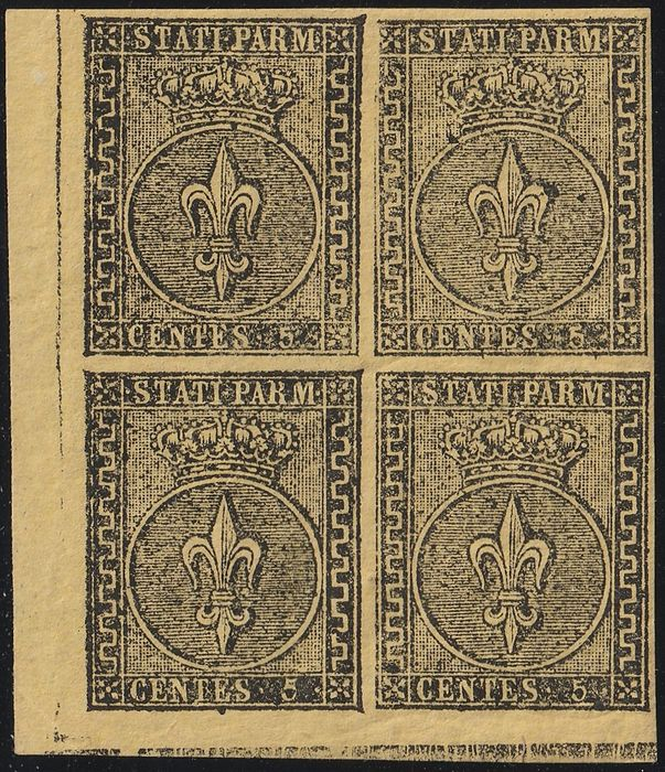 Italian Ancient States - Parma 1852 - 1st issue 5 cents orange yellow in block of four with very good margins, sheet corner - Sassone N.1
