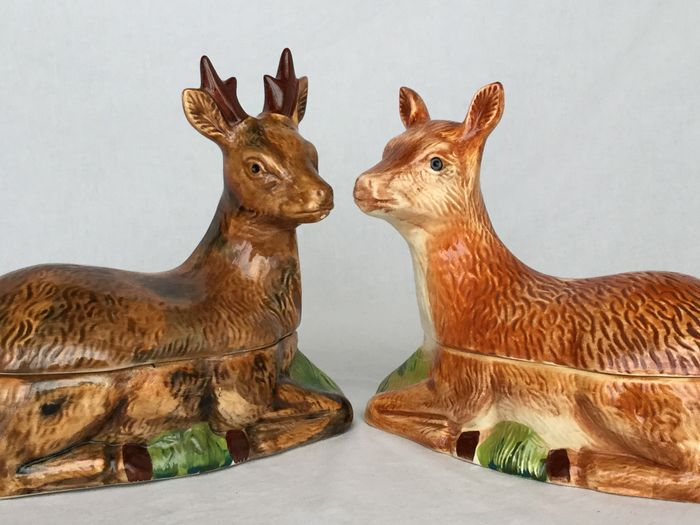 "Two beautiful ceramic pate terrines, depicting a Hert & Ree - Marked ""Michel Caugant"", ca 1980 France"