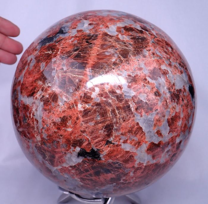 ** New Find ** Rare Pinkish-Orange Cipolin Sparkling Sphere - 190×190×190 mm - 10552 g