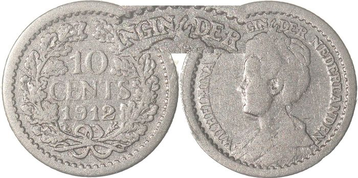 The Netherlands - 10 Cent 1912 (hoge kroon) Wilhelmina  - Silver