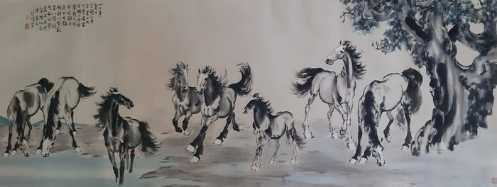 """Ink painting - Rice paper - 《徐悲鸿-八骏图》 """"Eight Horses""""Attributed Xu Beihong - China - Second half 20th century"""