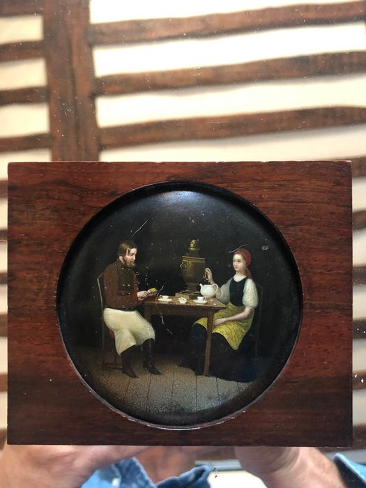 Painting, Miniature, attributed Lukutin factory, Moscow - Lacquer - Mid 19th century