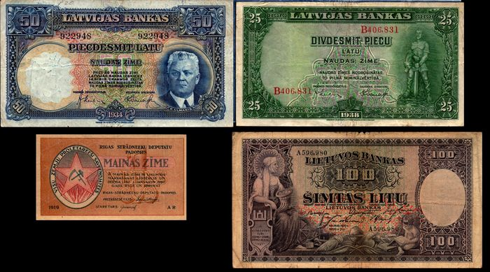 World - Latvia, Lithuania - 4 different banknotes - Various dates