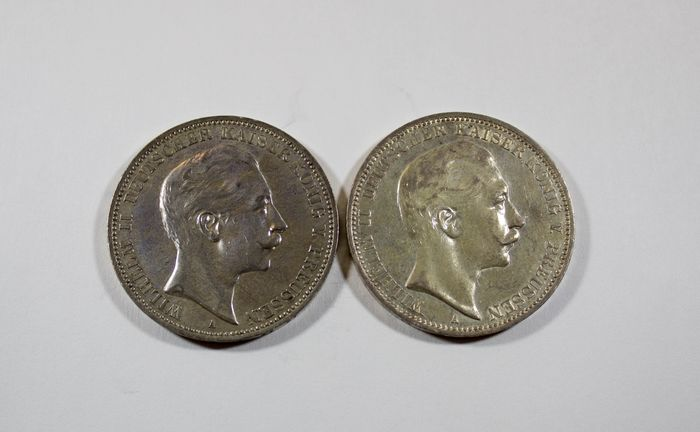Germany - Prussia - 3 Mark 1909 A & 3 Mark 1911 A - Silver