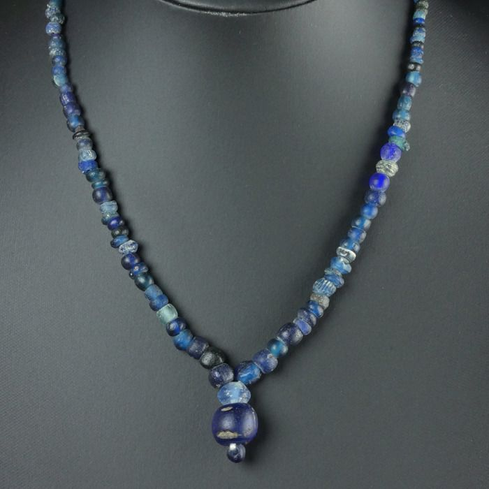 Ancient Roman Glass Necklace with blue glass beads - (1)