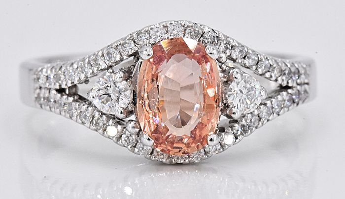 18 karaat Witgoud - Ring - 1.19 ct onverwarmde Padparadscha Sapphire - Diamanten