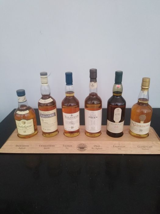 Cragganmore - Dalwhinnie - Glenkinchie - Lagavulin - Oban - Talisker  Classic Malts with wooden stand - Original bottling - 20cl - 6 bouteilles