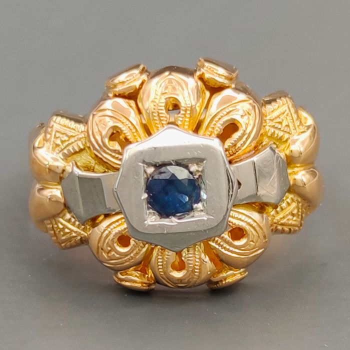 18 kt. White gold, Yellow gold - Ring - 0.10 ct Sapphire