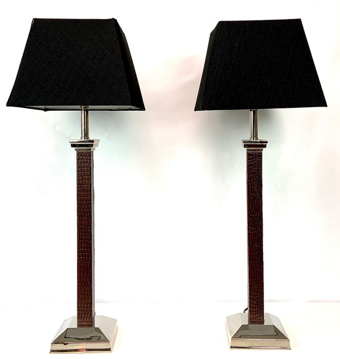 Chic pair of Chrome and faux-leather table lamps