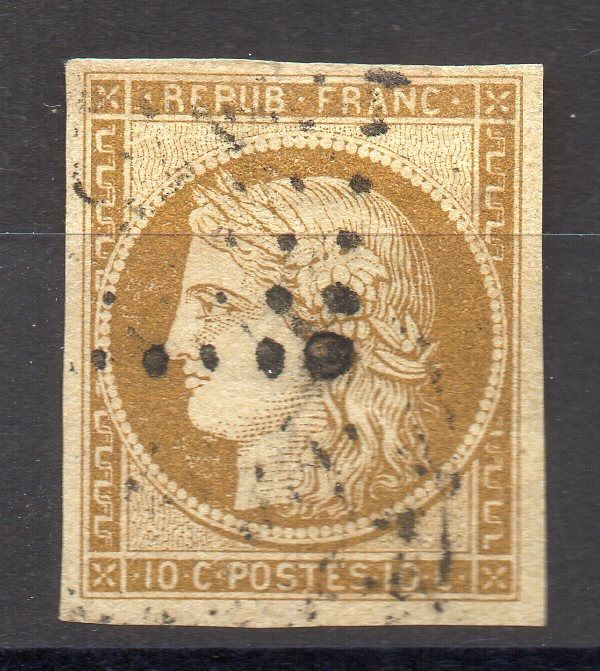 France 1850 - Ceres, 10 centimes bistre-yellow, signed. - Yvert 1