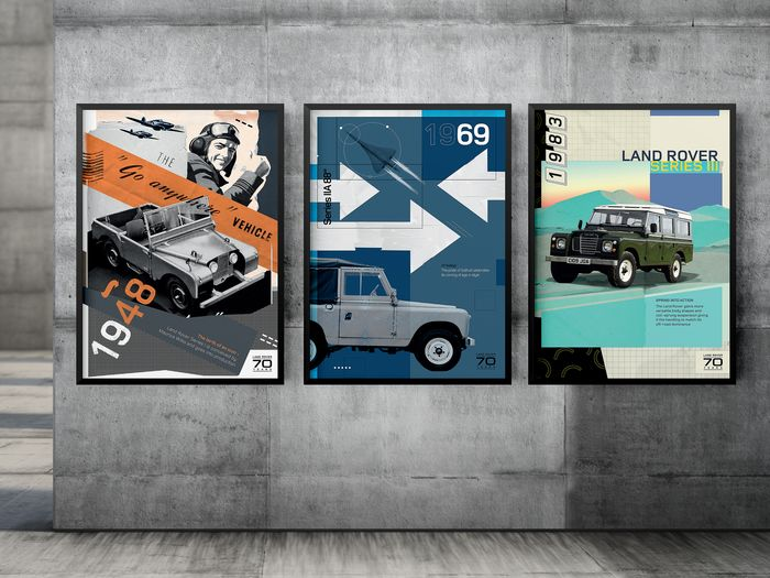 Poster - 70 Years of Land Rover History - Poster pack 3 pcs - 70x50 - Land Rover