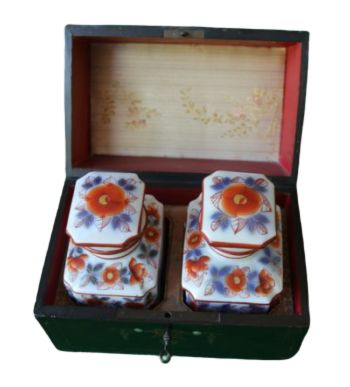 Tea caddy, Tea or perfume box in Boulle technique and tea cans Porcelain from Bayeux Chinoiserie - Napoleon III Style