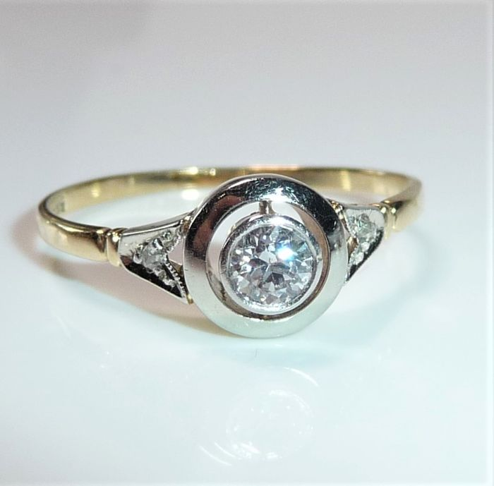 No Reserve - 14 kt Gelbgold, Platin - Ring - 0.29 ct Diamant