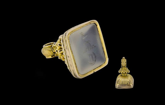 Seal, Wax seal fob/pendant - Gold plated - England - Mid 19th century