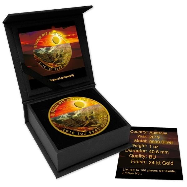 Australien - 1 Dollar 2019 - Super Pit Sunset Colorized Coin - 1 Oz with COA and BOX - Silber