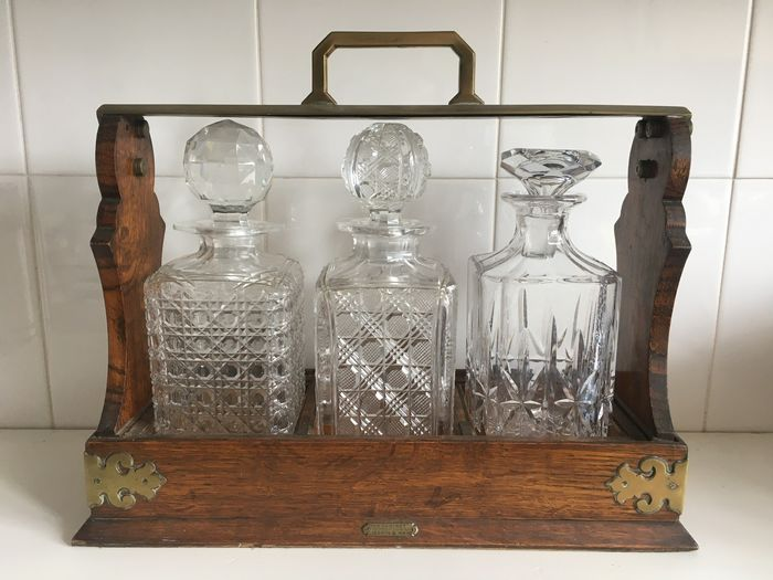 Mappin & Webb - Antique Victorian Oak Tantalus 'The Cabinet' with 3 Decanters Cut Crystal and Glass