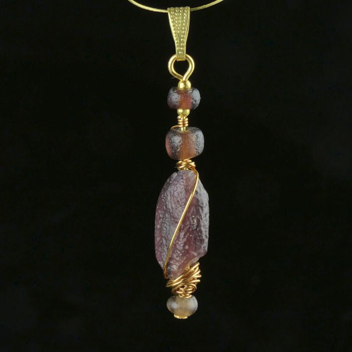Ancient Roman Glass Pendant with purple glass beads - (1)