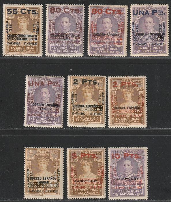 Spanien 1927 - 25th Anniversary of Alfonso XIII coronation. (Red Cross Colonies) - Edifil 392/401