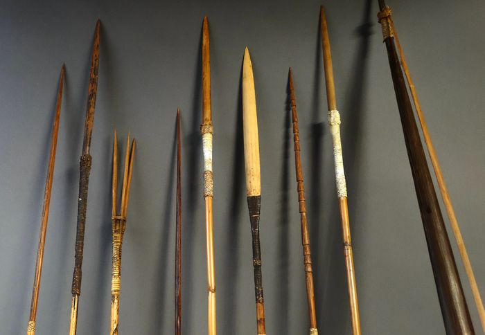 Set of a bow and eight arrows - Bamboo, Wood - Baliem, West-Papua