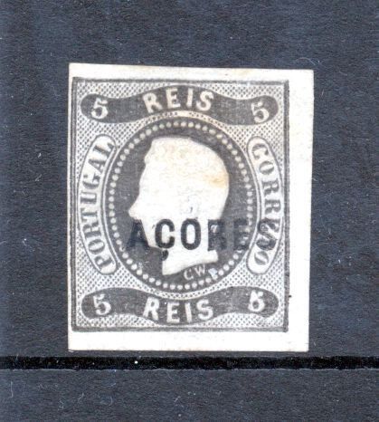 Azoren 1868 - D. Luís I 5 Reis Curved Strip Imperforated New. - Mundifil 1