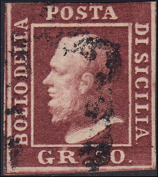 Königreich Sizilien - 1859 50 grana brown lacquer, double engraving position no. 70 - Sassone N. 14d