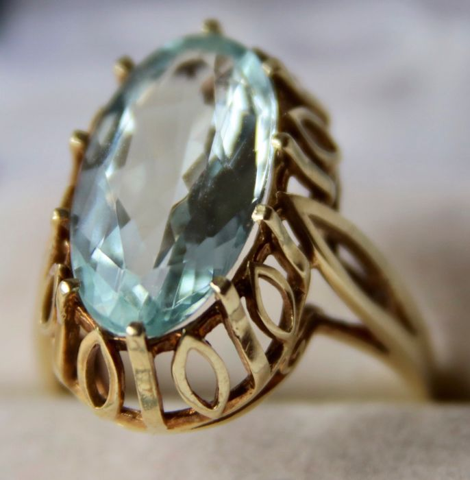 14 kt. Yellow gold - Goldsmith's Germany Ring - 6.07 ct Aquamarine (tested) - excellent state