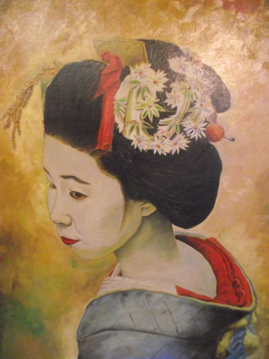 Beautiful oil on canvas painting of a Japanese geisha by Jean Totte - Canvas - Frankrijk - Tweede helft 20e eeuw