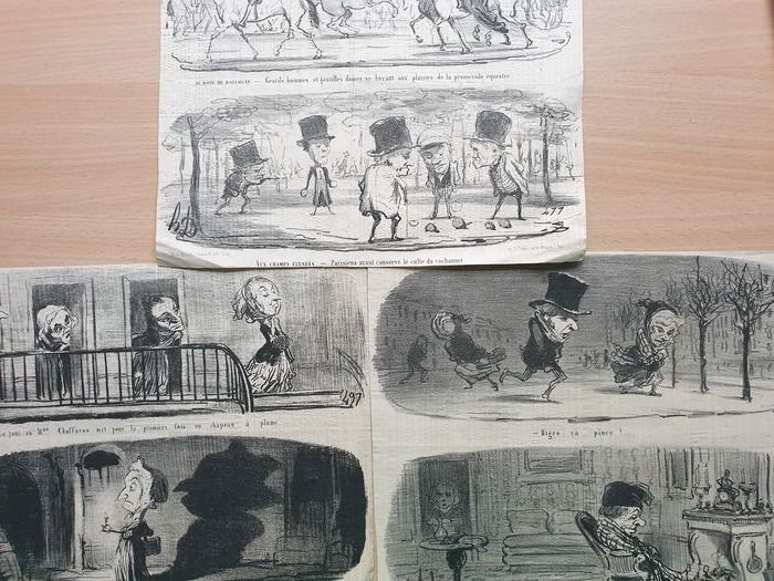 6 lithographs by Honoré Daumier (1808-1879) - Six sketches in 3 sheets from the Croquis Dramatiques