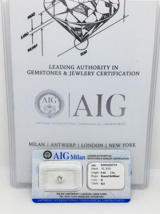 1 pcs Diamond - 0.66 ct - Brilliant - H - SI2